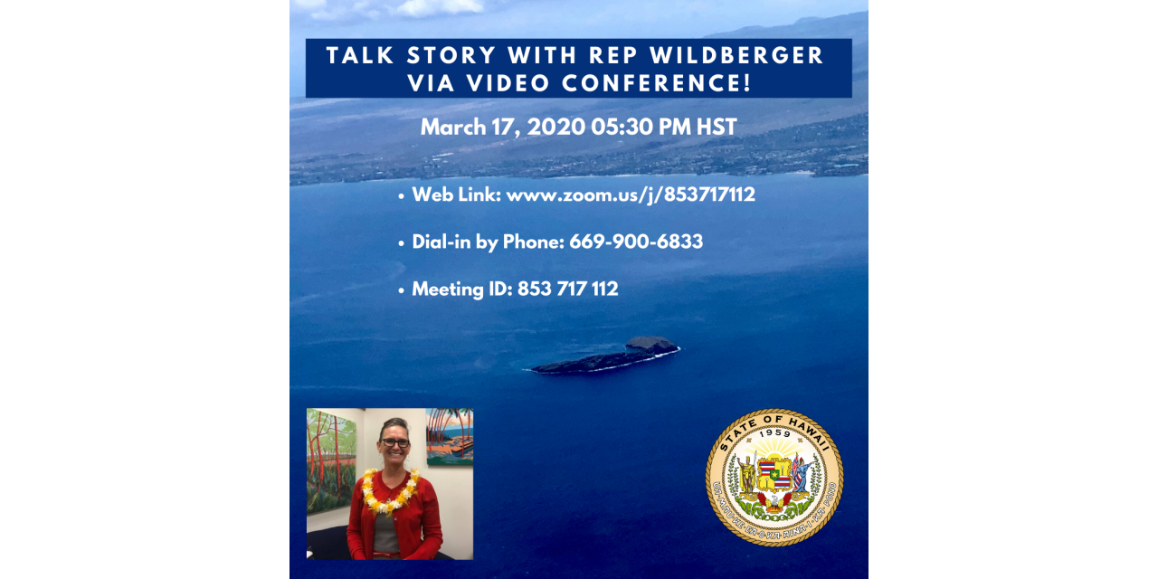 "**Talk Story with State Rep Tina Wildberger "" by Video"