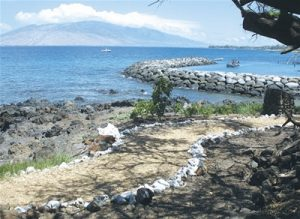 Reminiscent of ancient times, white coral lines the trail near the Kihei Boat Ramp.
