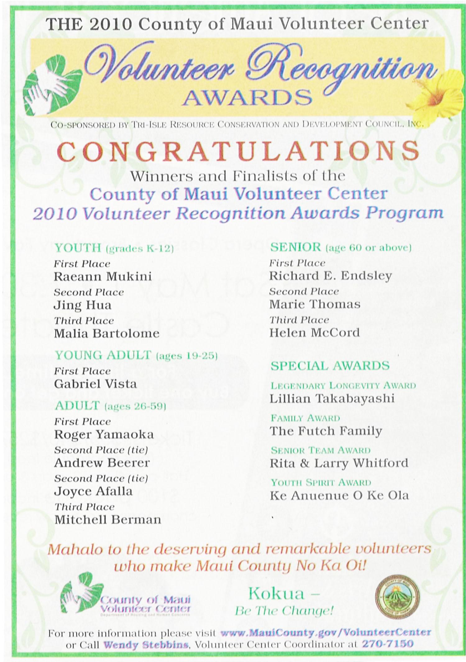 Kihei Volunteers Recognized
