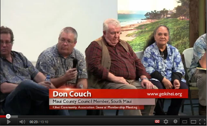 Video Posted of April, 2012 Meeting on The Maui Island Plan and Pi'ilani Promenade