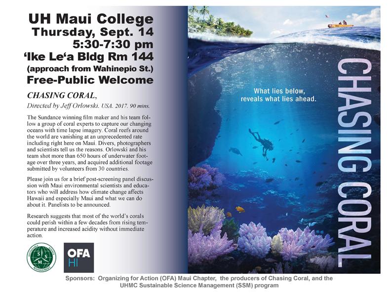 Free Screening of Chasing Coral 9/14/2017