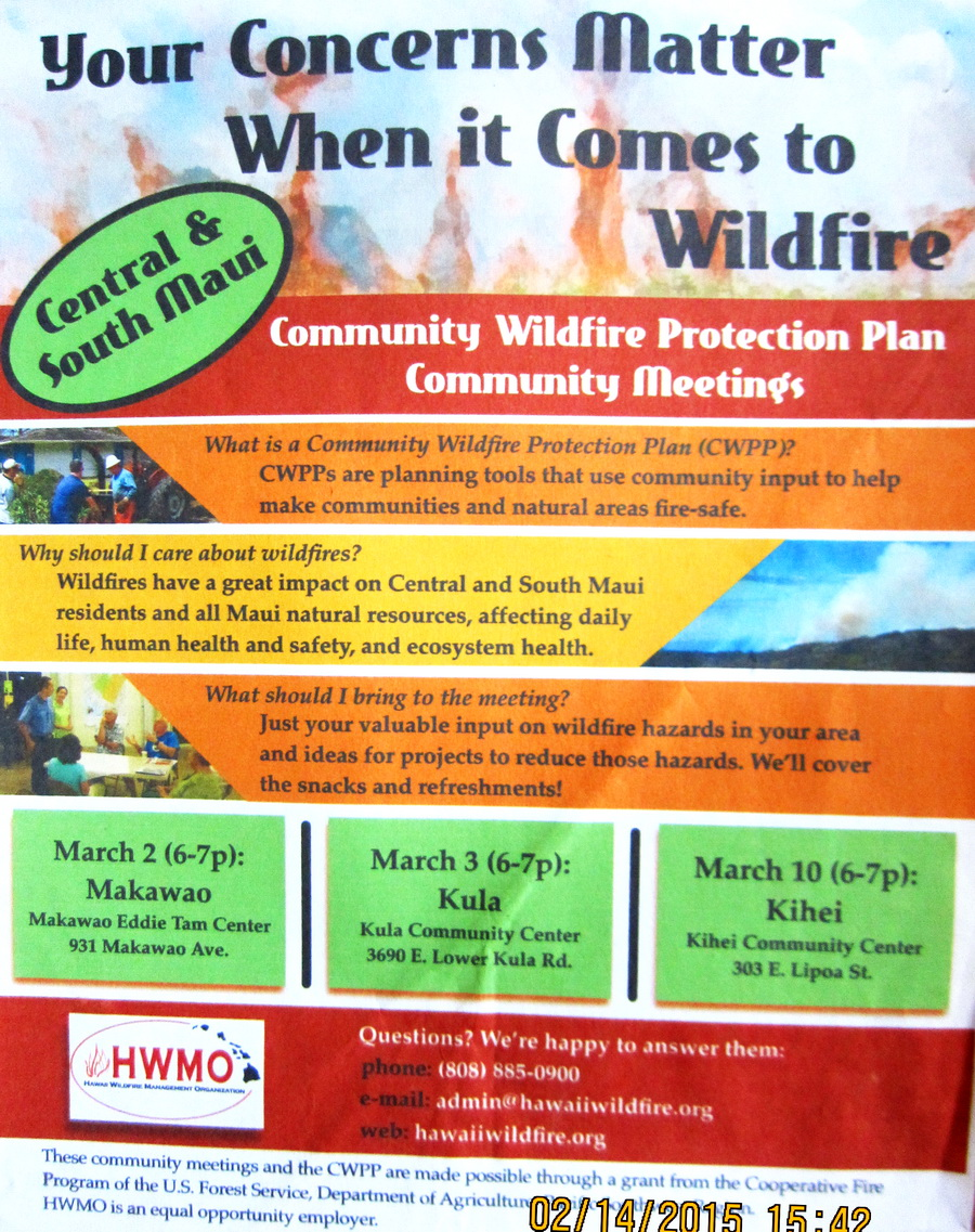 HWMO on Wildfires in Kihei this Tuesday evening