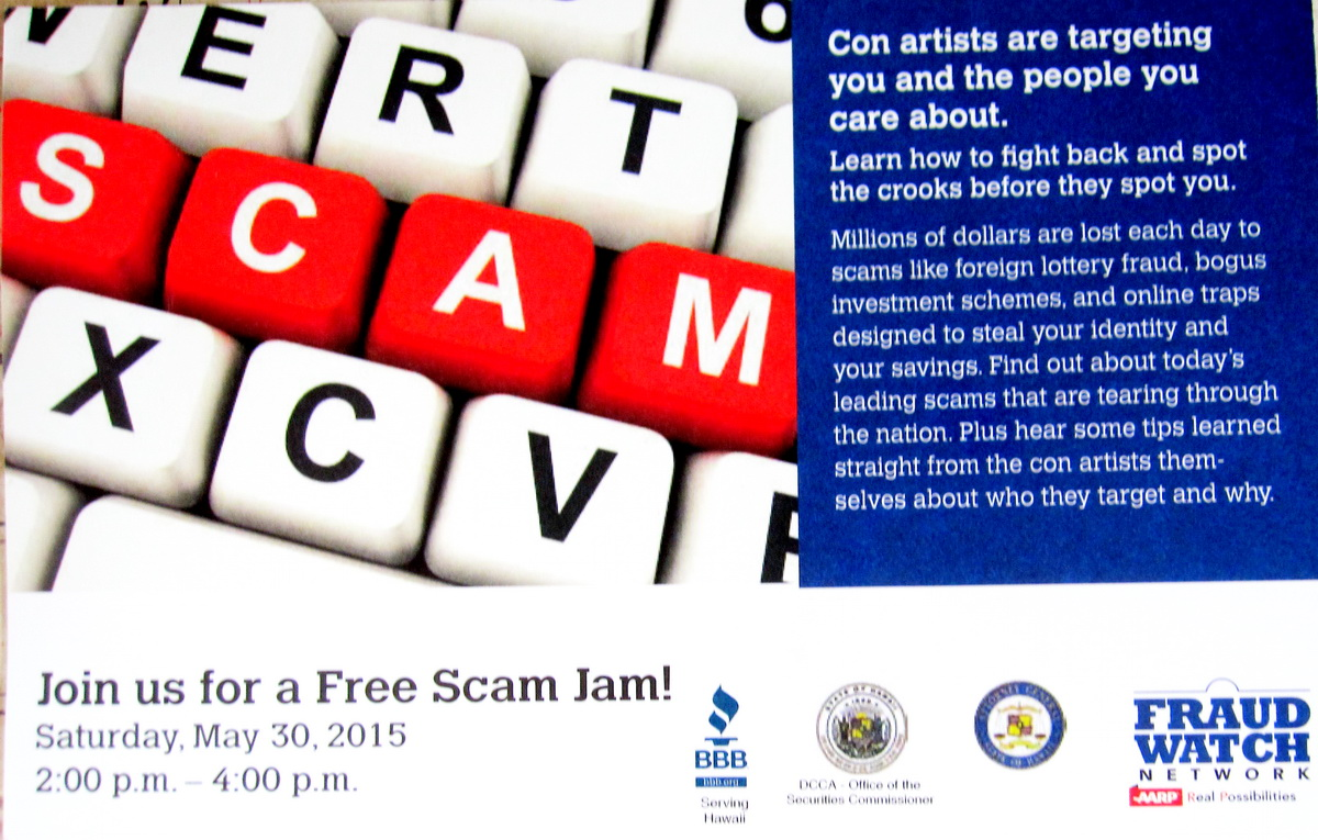 FREE Scam Jam on Saturday