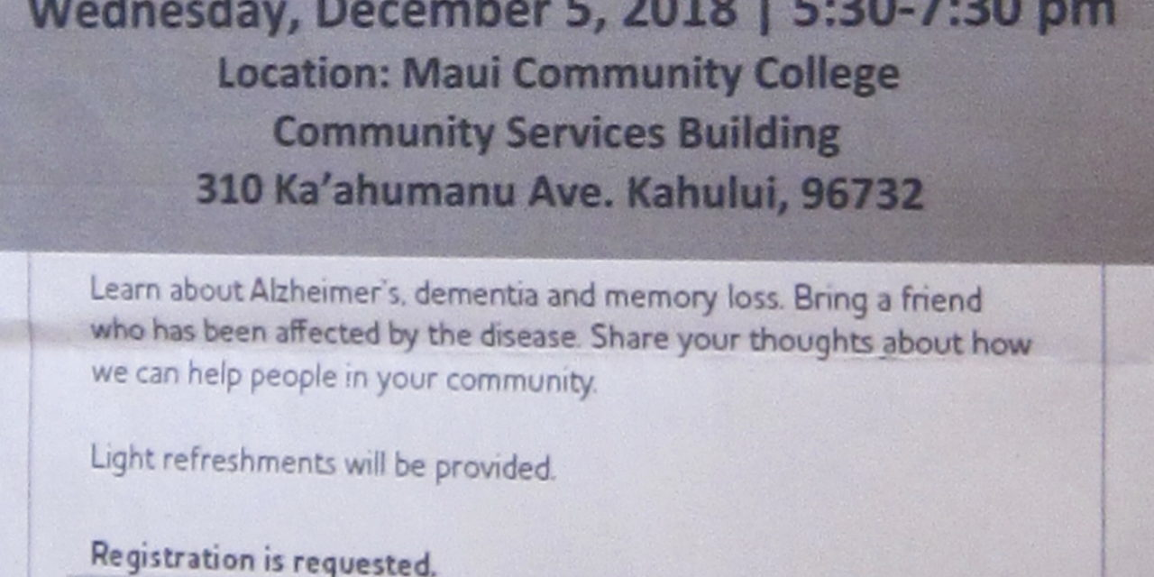 Alzheimer's Association event next month in Kahuilui