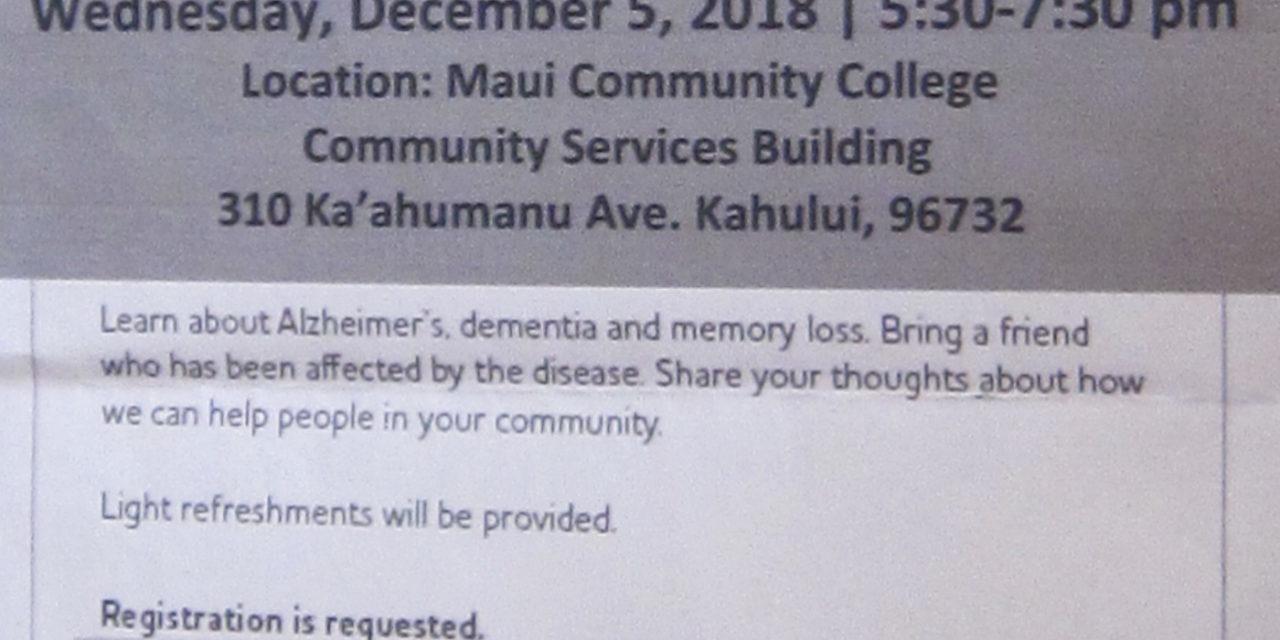 Alzheimer's Association event next month in Kahuilui