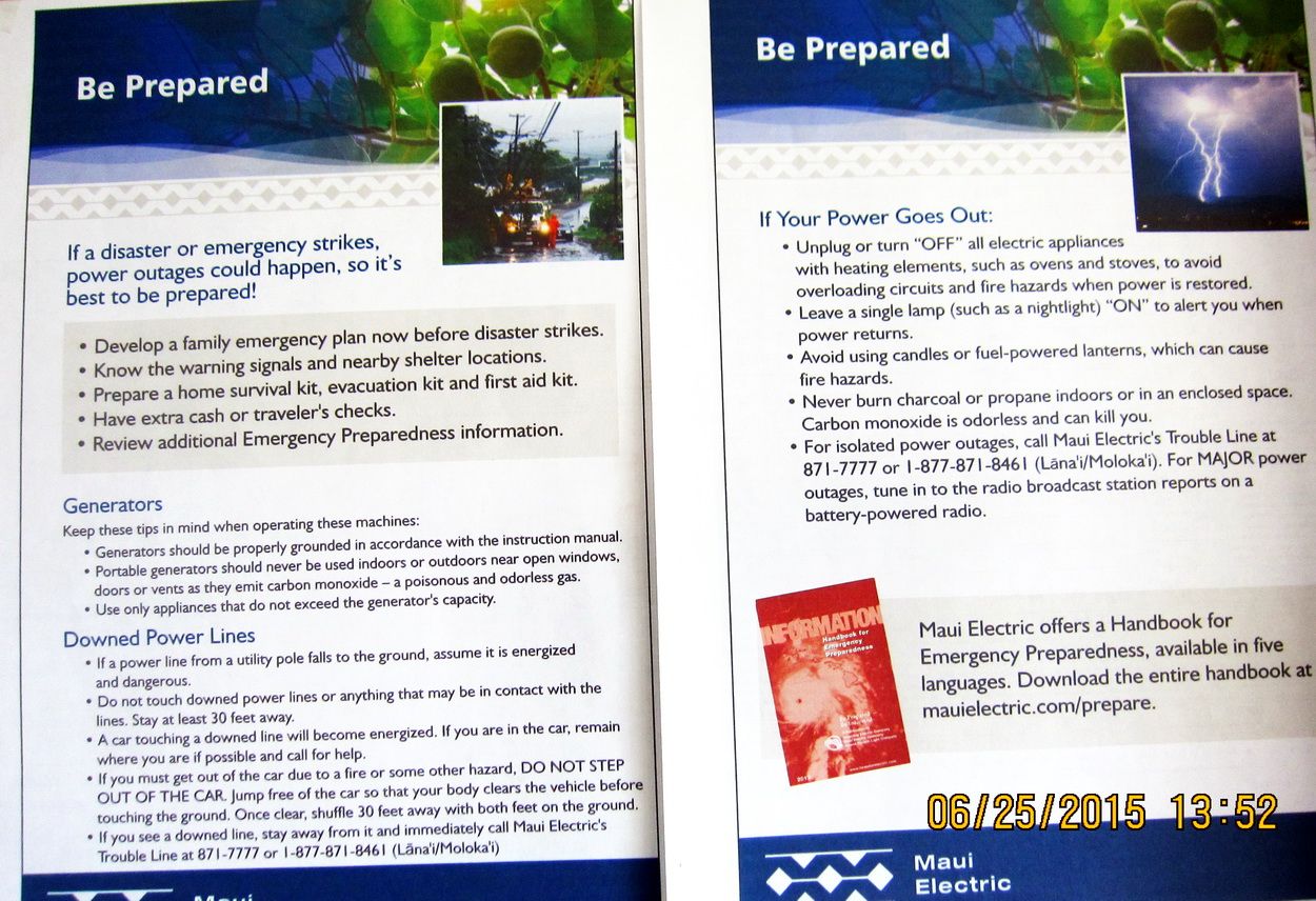 "MECO Advises, ""Be Prepared.""  Are you?"