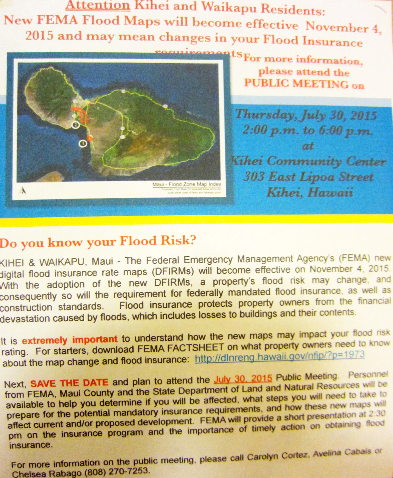 KCA recommends you attend  FEMA meeting at KCC on Thursday