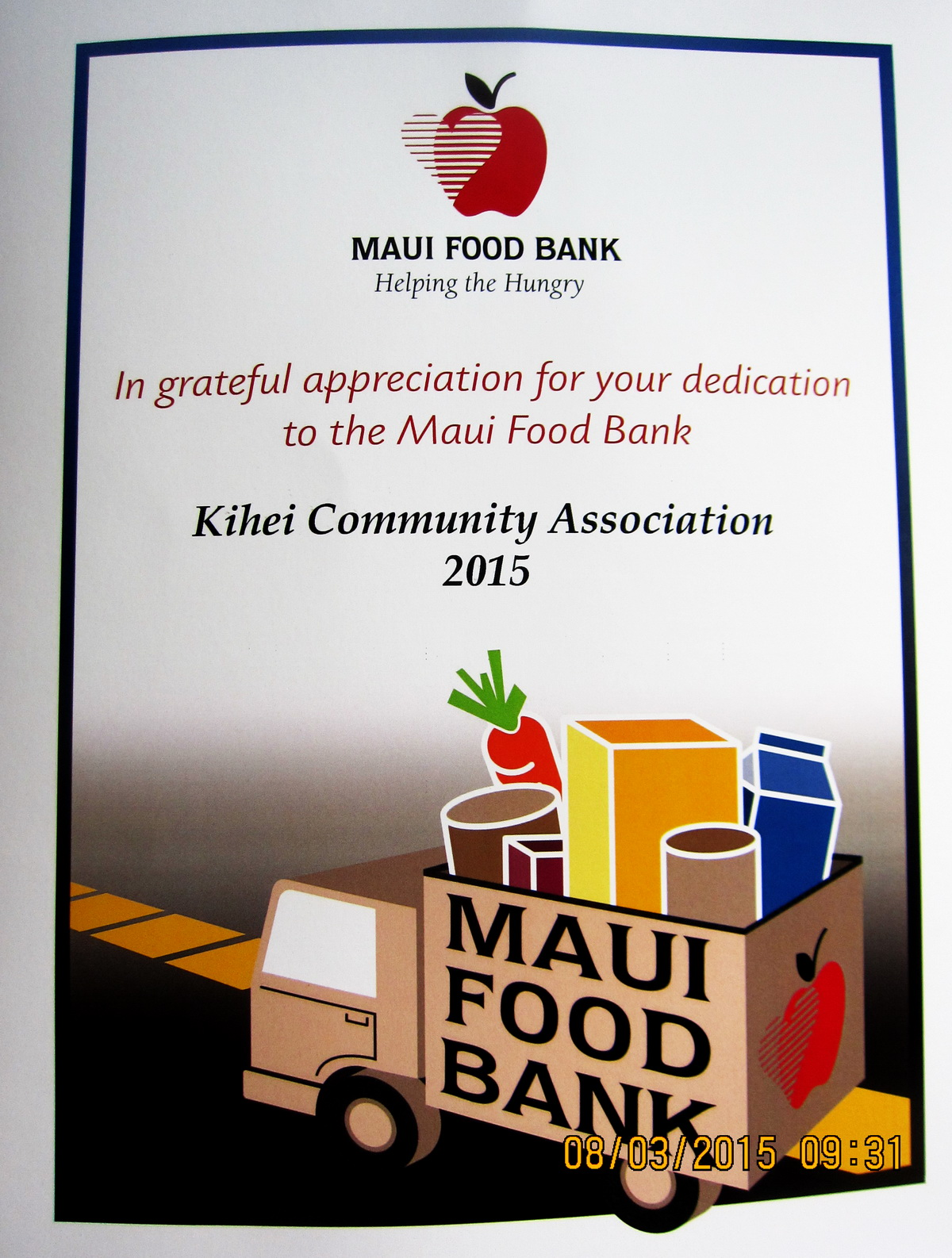 KCA MEMBERS, Maui Food Bank says mahalo