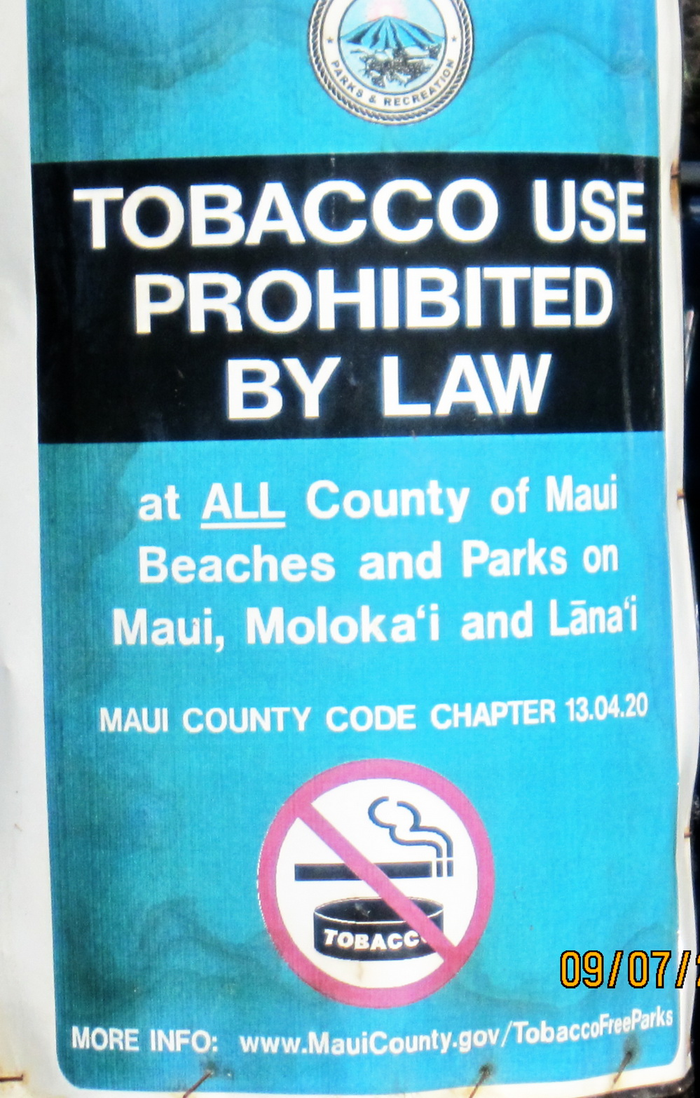 "COUNTY SAYS ""NO SMOKING"" HERE"