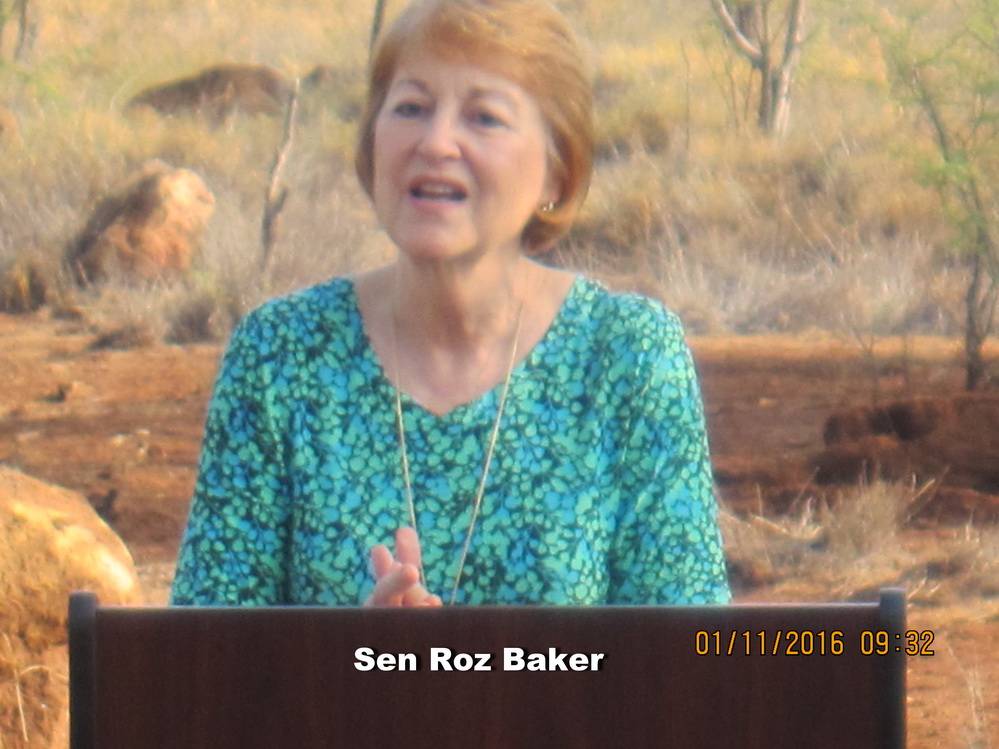 Roz Baker Talks to the Community on next Thursday 1/28/16 in Kihei