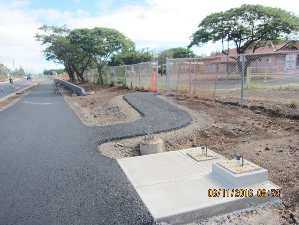 Kihei Bikeway, Phase II is (sort of) completed along Liloa, fronting school this morning