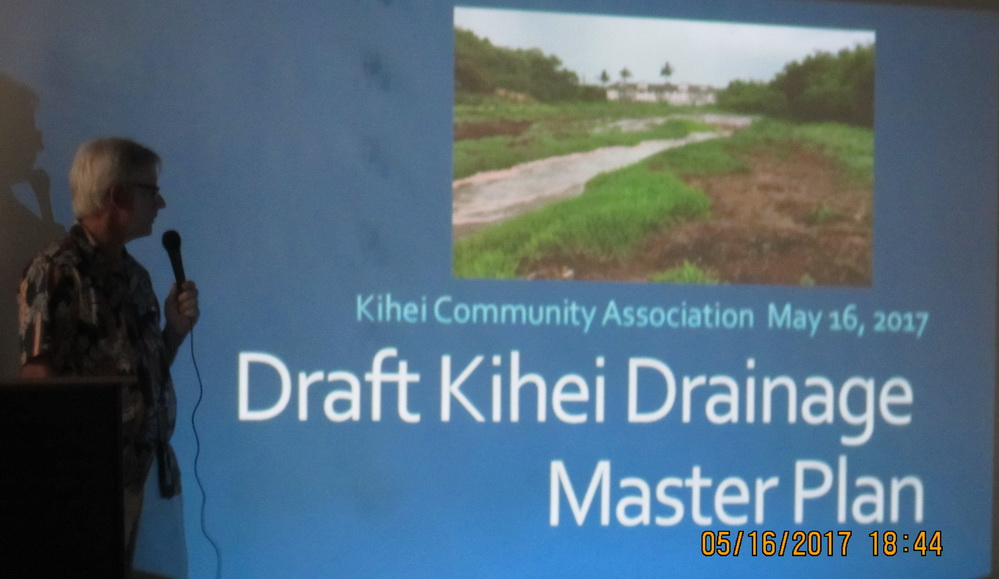 David Goode brings out the community on Tuesday evening unveiling Kihei Drainage Master Plan at KCA meeting