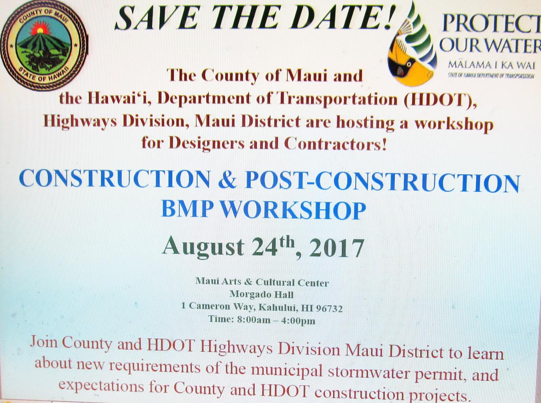 Best Management Practices (BMP) Workshop August 24