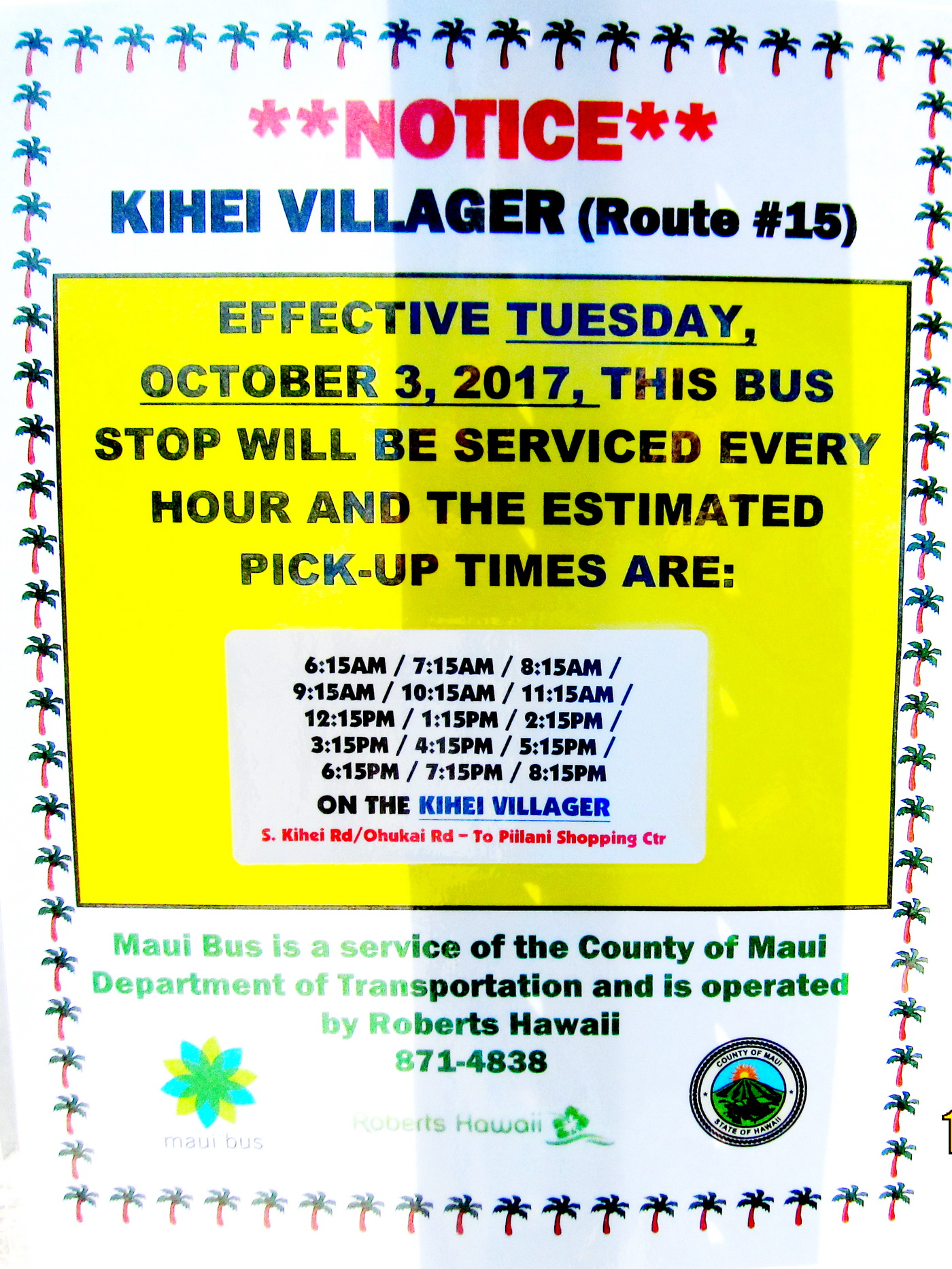 Maui Bus Kihei Villager (Route 15) schedule change starts Tuesday