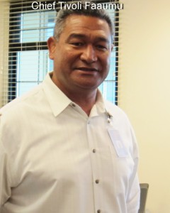 "Captain Tivoli ""Tivo"" Faaumu, Kihei District Commander in his office"