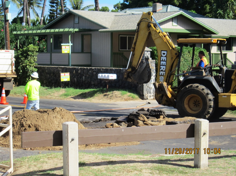 SKR CLOSED FROM OHUKAI TO KAONOULU FOR TWO WATER METERS THIS MORNING