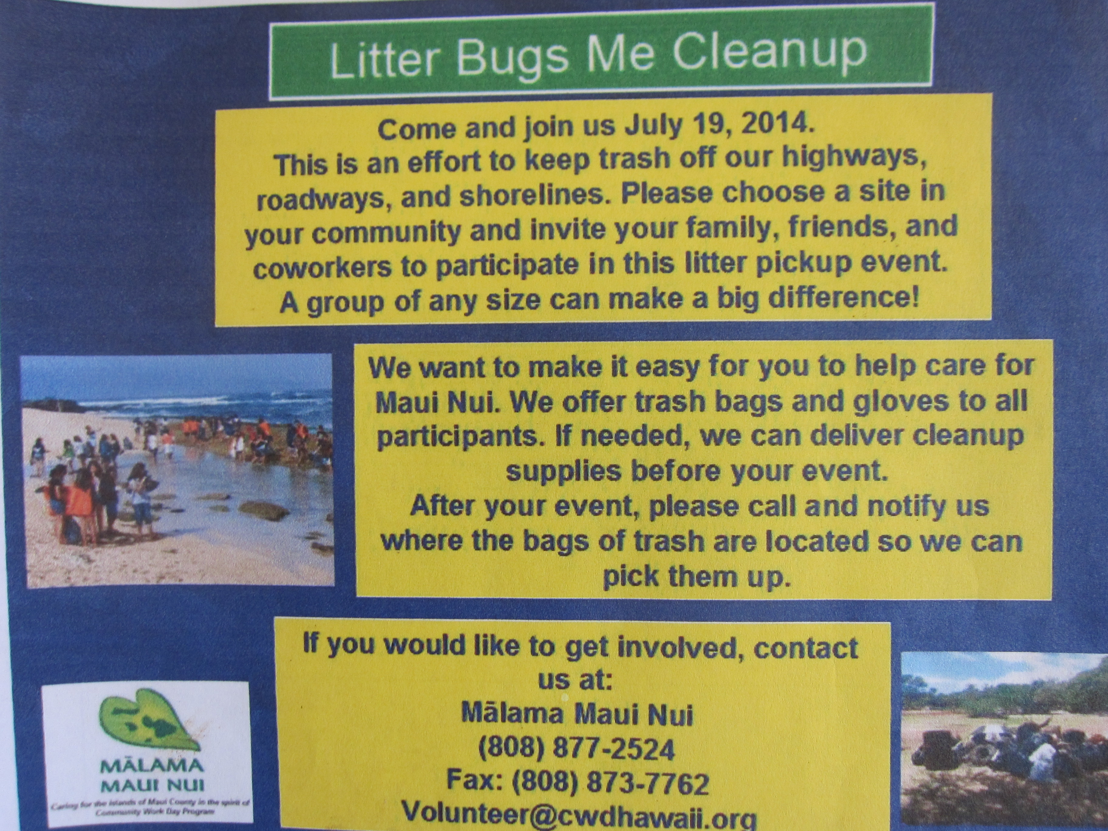 Island-wide Litter Cleanup Proposed for July, 19, 2014