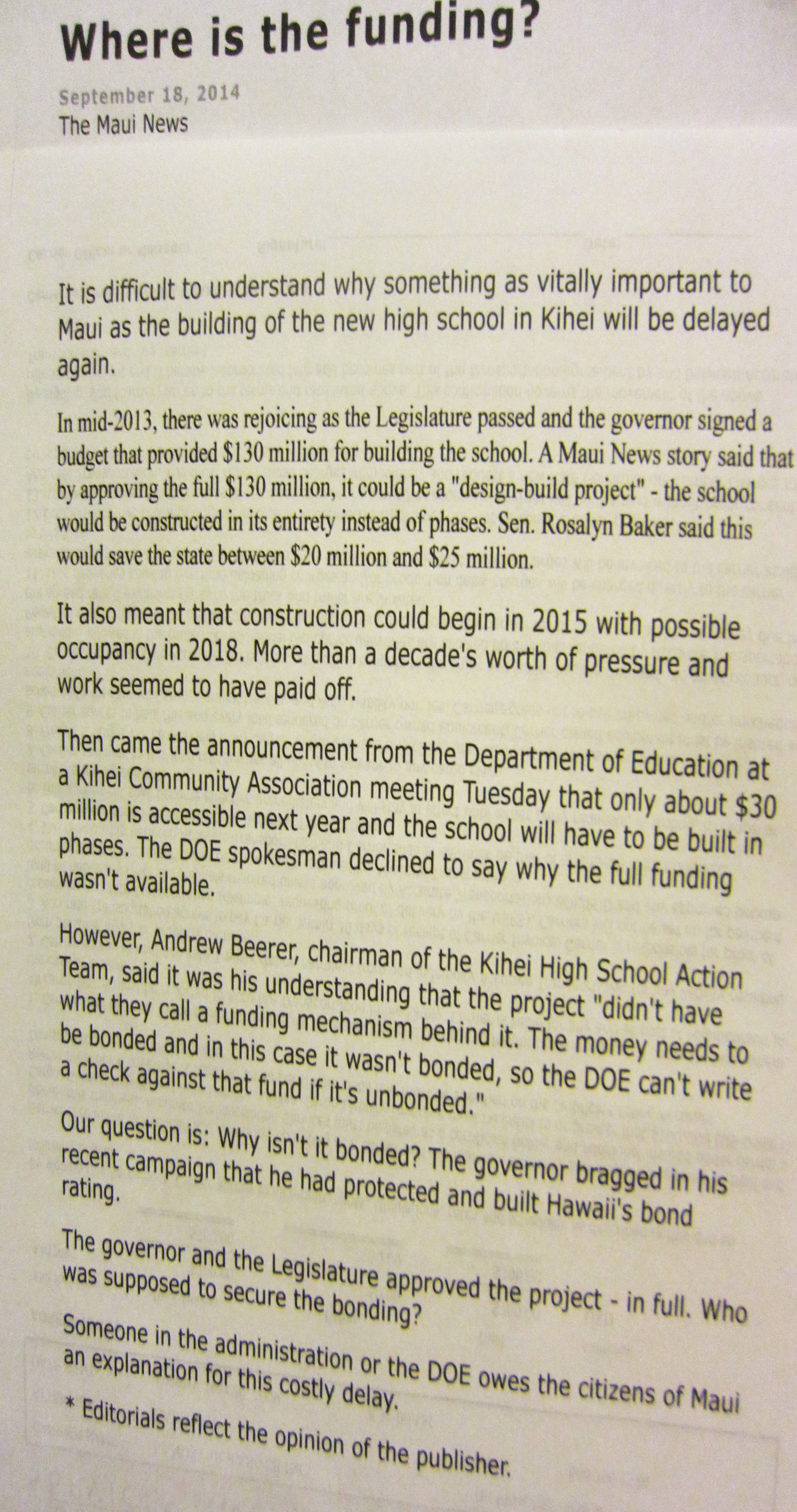Maui News Editorializes on Kihei High School and DOE