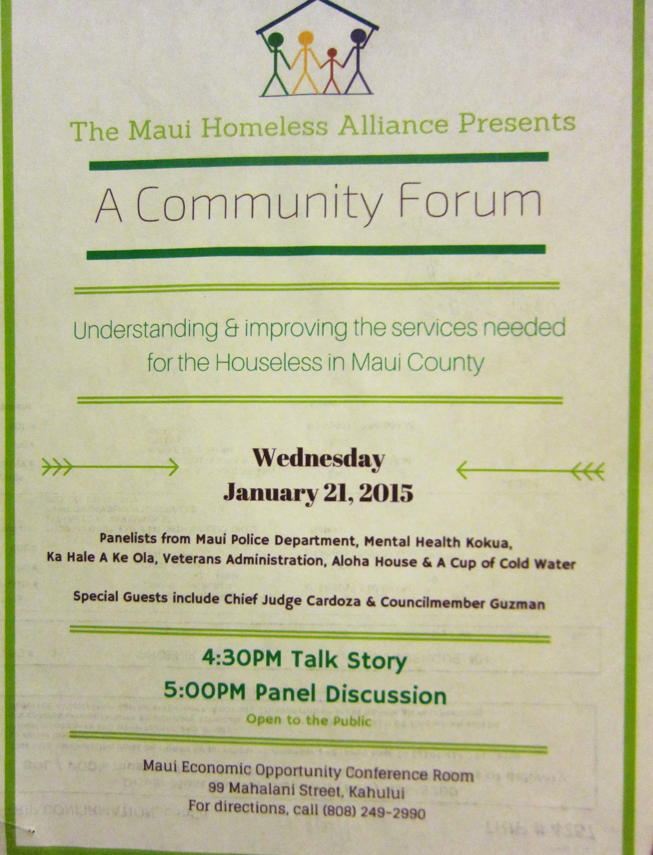 COMMUNITY FORUM ON HOMELESS , WEDNESDAY (1/21/15) IN KAHULUI