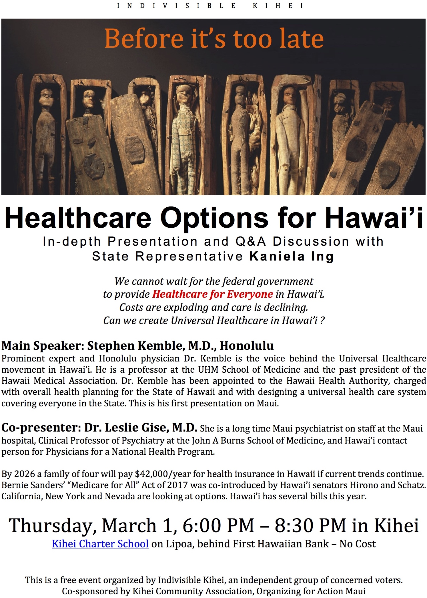 Public Meeting in Kihei March 1 – Healthcare for All Hawaii?