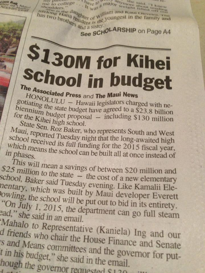 Legislature Approves $130 Million for Kihei High School